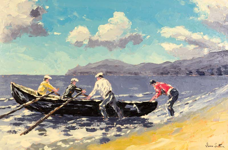 Ivan Sutton (b.1944), Launching the Curragh, Achill, Co. Mayo at Morgan O'Driscoll Art Auctions