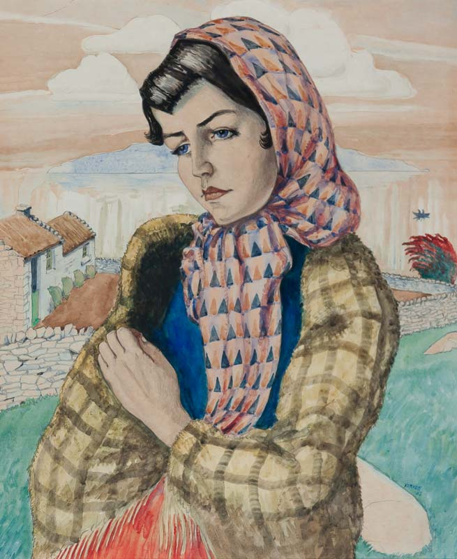Harry Kernoff RHA (1900-1974), Portrait of a Girl with Shawl at Morgan O'Driscoll Art Auctions