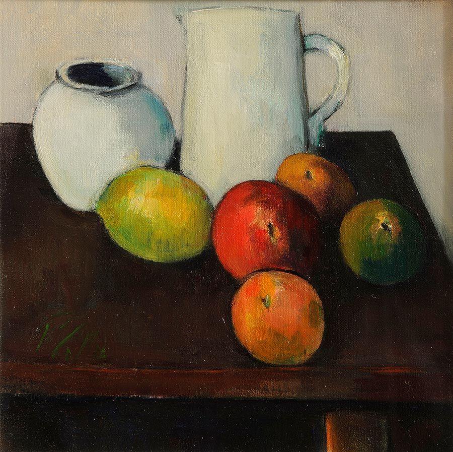 Peter Collis RHA (1929-2012), Still Life, White Jug and Fruit at Morgan O'Driscoll Art Auctions