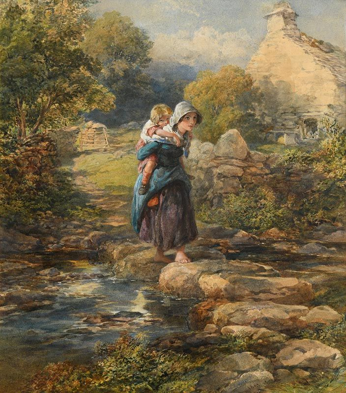 Francis William Topham, The Stepping Stones (1861) at Morgan O'Driscoll Art Auctions