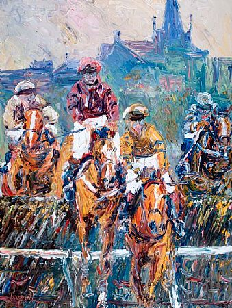 Liam O'Neill (b.1954), Jumping the Last at Listowel with Church Spire in Background at Morgan O'Driscoll Art Auctions