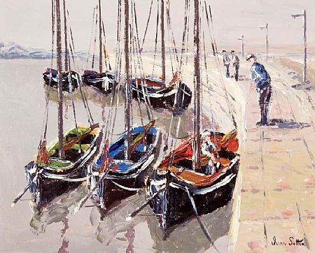 Ivan Sutton (b.1944), Galway Hookers Berthed at Carraroe, Co. Galway at Morgan O'Driscoll Art Auctions