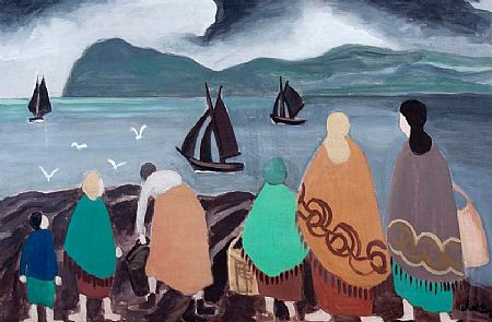 Markey Robinson (1918-1999), Shawlies and Boats at Morgan O'Driscoll Art Auctions