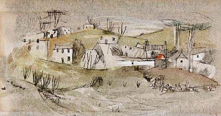 Louis Le Brocquy HRHA (b.1916), Lucan Village at Morgan O'Driscoll Art Auctions