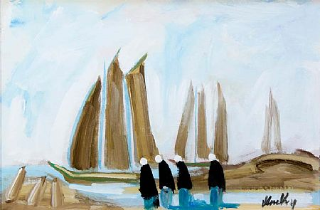 Markey Robinson (1918-1999), Four Figures and Boats at Morgan O'Driscoll Art Auctions