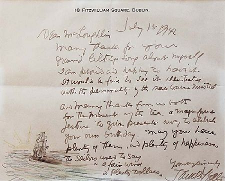 Jack Butler Yeats RHA (1871-1957), Letter to Mr McLoughlin at Morgan O'Driscoll Art Auctions