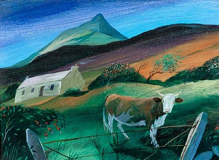 Nicholas Healy Hutchinson (b.1955), Cow and Cottage at Morgan O'Driscoll Art Auctions