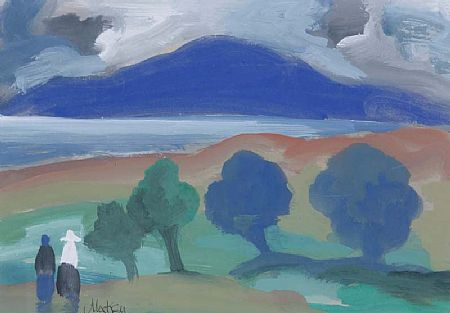 Markey Robinson (1918-1999), Lakeview with Trees and Figures at Morgan O'Driscoll Art Auctions
