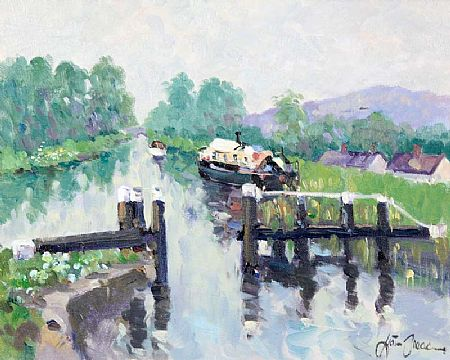 Liam Treacy RHA (1934-2005), Barges on the Canal at Morgan O'Driscoll Art Auctions