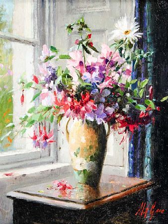 Mat Grogan (20th/21st Century), Wild Flowers with Yellow and Green Vase at Morgan O'Driscoll Art Auctions