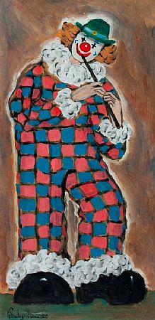 Gladys MacCabe ROI FRSA MA HRUA (1918-2018), Clown Playing the Flute at Morgan O'Driscoll Art Auctions