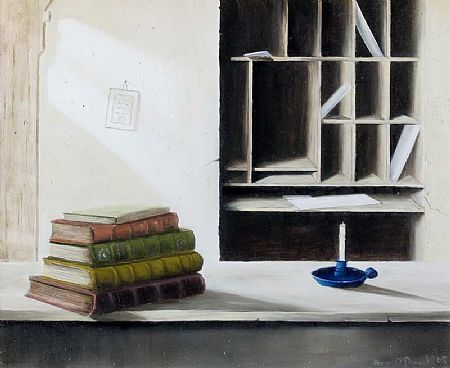 Simon O'Donnell (b.1945), Interior with Books and Candle at Morgan O'Driscoll Art Auctions