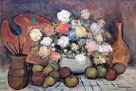 Gladys MacCabe ROI FRSA MA HRUA (1918-2018), Still Life with Flowers and Palette at Morgan O'Driscoll Art Auctions