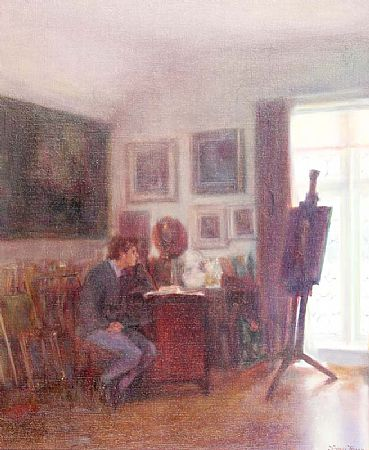 Thomas Ryan PPRHA (b.1929), Myles in the Studio at Morgan O'Driscoll Art Auctions