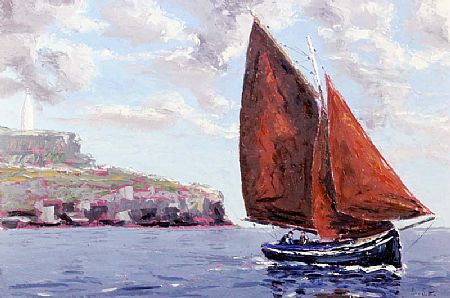 Ivan Sutton (b.1944), Galway Hooker at Entrance to Baltimore Harbour at Morgan O'Driscoll Art Auctions