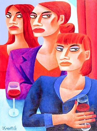 Graham Knuttel (b.1954), Three Ladies Drinking Wine at Morgan O'Driscoll Art Auctions