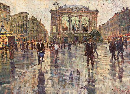 Arthur K. Maderson (b.1942), Towards the Opera House, Montpeuer, France, January Evening at Morgan O'Driscoll Art Auctions