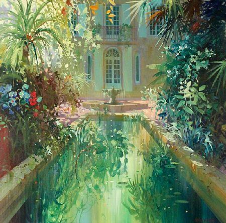 Laurent Parcelier (b.1962) French, Le Bassin au Milieu des Fleurs at Morgan O'Driscoll Art Auctions