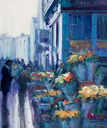 Norman Teeling (b.1944), Flower Sellers, Grafton St. at Morgan O'Driscoll Art Auctions