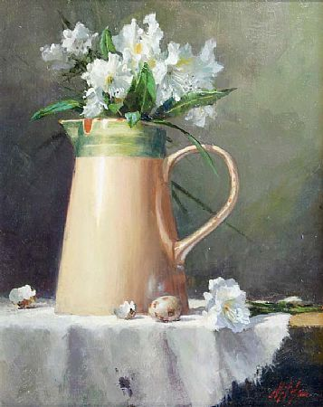 Mat Grogan (20th/21st Century), Milk Jug with White Flowers at Morgan O'Driscoll Art Auctions