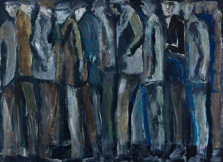 John Thompson (1924-2011) British, Geordies in a Queue at Morgan O'Driscoll Art Auctions