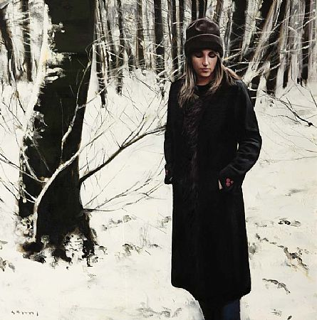 Gerard M. Burns (b.1961) Scottish, Girl Between Trees in Winter at Morgan O'Driscoll Art Auctions