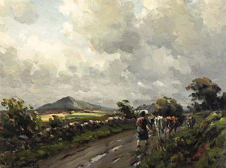 Charles J. McAuley RUA ARSA (1900-1999), Driving Home the Cows at Morgan O'Driscoll Art Auctions