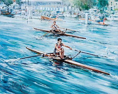 Gordon King (b.1939) British, Boat Race at Morgan O'Driscoll Art Auctions
