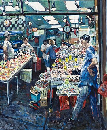 Hector McDonnell RUA (b.1947), Chinese Fishmongers at Morgan O'Driscoll Art Auctions
