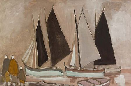 Markey Robinson (1918-1999), Figures and Boats at Morgan O'Driscoll Art Auctions