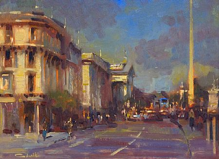 Patrick Cahill (20th/21st Century), O'Connell St, Sunshine, Blue Bus & Spire at Morgan O'Driscoll Art Auctions