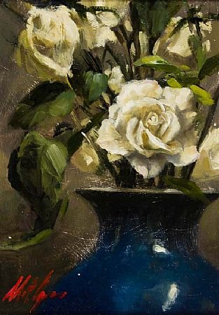 Mat Grogan (20th/21st Century), White Roses in a Blue Vase at Morgan O'Driscoll Art Auctions