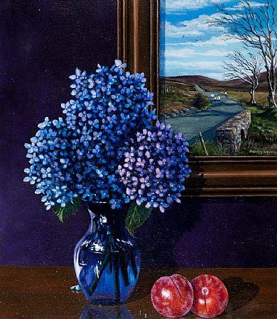 Rhonda Church (20th/21st Century), Still Life - Hydrangeas and Plums at Morgan O'Driscoll Art Auctions