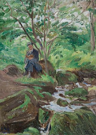 Estella Frances Solomons HRHA (1882-1968), Seamus Reading by a Wooded Stream at Morgan O'Driscoll Art Auctions
