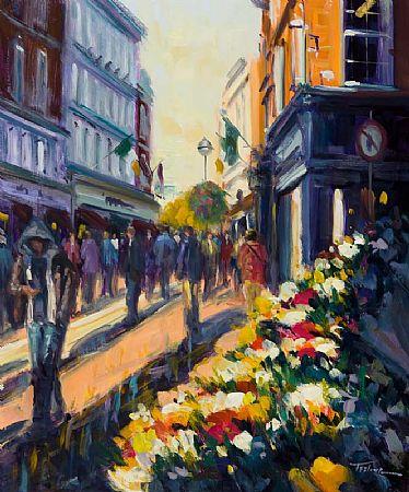 Norman Teeling (b.1944), Grafton Street Flower Sellers at Morgan O'Driscoll Art Auctions