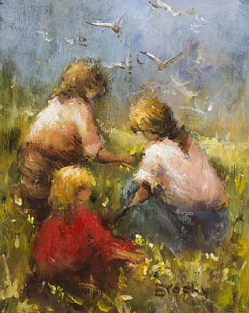 Elizabeth Brophy (20th/21st Century), Picking Flowers with Mum at Morgan O'Driscoll Art Auctions