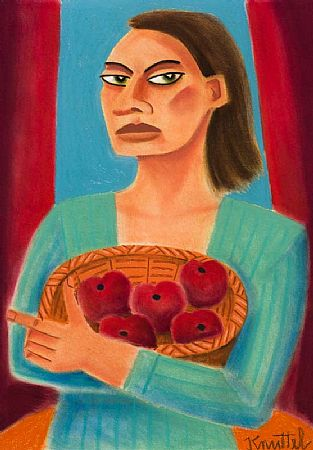 Graham Knuttel (b.1954), Lady with Basket of Apples at Morgan O'Driscoll Art Auctions