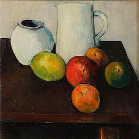 Peter Collis RHA (1929-2012), Still Life, White Jug and Fruit at Morgan O'Driscoll Art Auctions