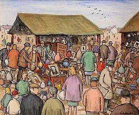 Gladys MacCabe ROI FRSA MA HRUA (1918-2018), Market, Antique Stalls at Morgan O'Driscoll Art Auctions
