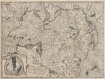 John Speed, Province of Ulster, with inset of Enis Kelling Fort on Lough Farne (1627) at Morgan O'Driscoll Art Auctions