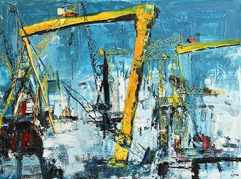 Una O'Grady, Belfast Docks at Morgan O'Driscoll Art Auctions