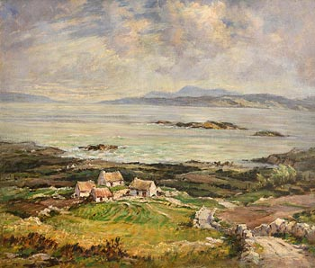Padraic Woods, Cottages, West of Ireland at Morgan O'Driscoll Art Auctions