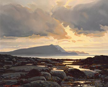 Fergal Nally, Last Light Over Craoghann, Achill, Co Mayo (1995) at Morgan O'Driscoll Art Auctions
