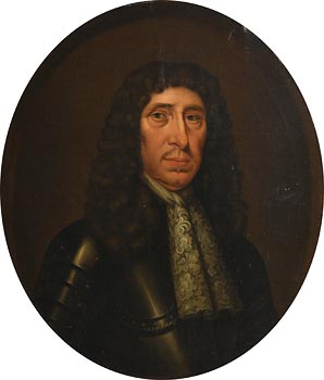 17th Century English School, Portrait of a Gentleman (possibly of the Cradock family, half length wearing a wig, lace cravat and armour) at Morgan O'Driscoll Art Auctions