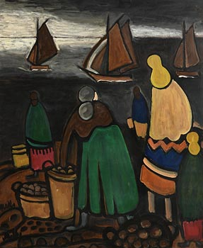 Markey Robinson, Potato Gatherers on the Coast at Morgan O'Driscoll Art Auctions