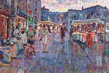 Arthur K. Maderson, Le Marche de Nuit, Dusk, le Vigan, Sud France at Morgan O'Driscoll Art Auctions