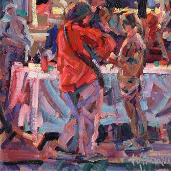 Arthur K. Maderson, Early Evening Gange, Night Market at Morgan O'Driscoll Art Auctions