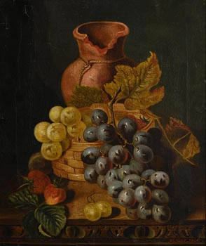 Henry George Todd, Still Life with Grapes and Strawberries (1884) at Morgan O'Driscoll Art Auctions