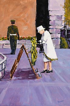 Michael Hanrahan, Her Majesty Queen Elizabeth in the Garden of Remembrance, Dublin (2011) at Morgan O'Driscoll Art Auctions