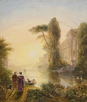 George Barrett, Stroll by the River at Morgan O'Driscoll Art Auctions